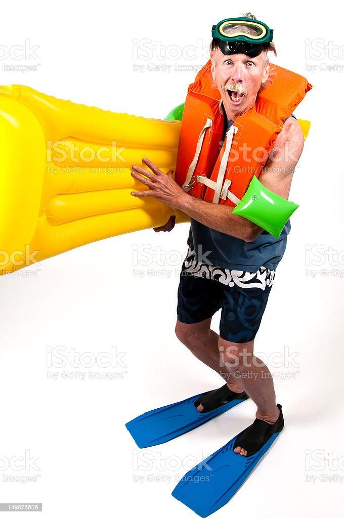 Retired man ready to swim stock photo