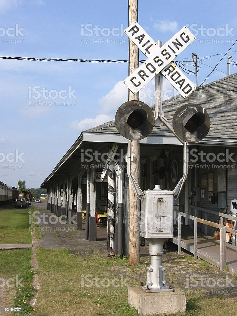 Retired Railroad Crossing royalty-free stock photo