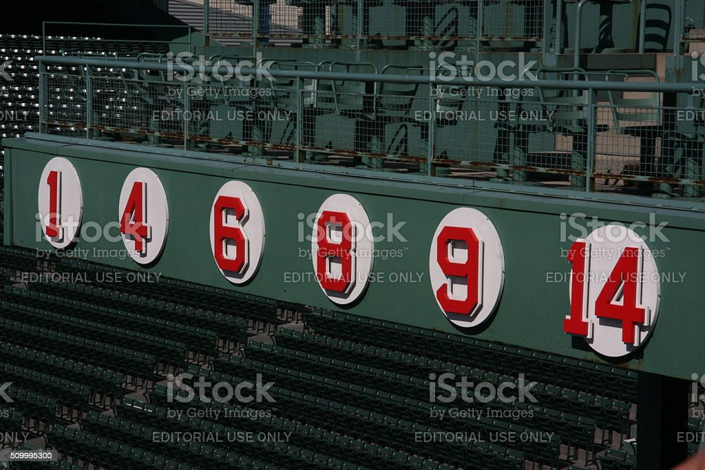 Retired Red Sox numbers stock photo