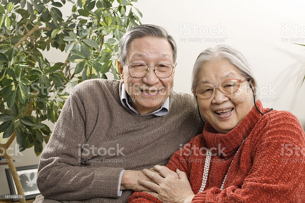 Retired Senior Asian Couple, Chinese Husband, Wife Grandparents Happy Together royalty-free stock photo