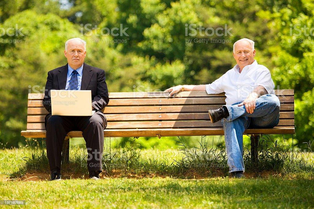 Retired Vs. Employed stock photo