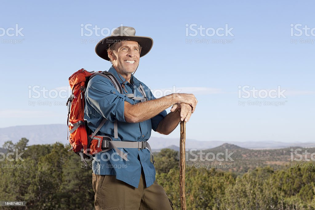 Retiree on a hike royalty-free stock photo