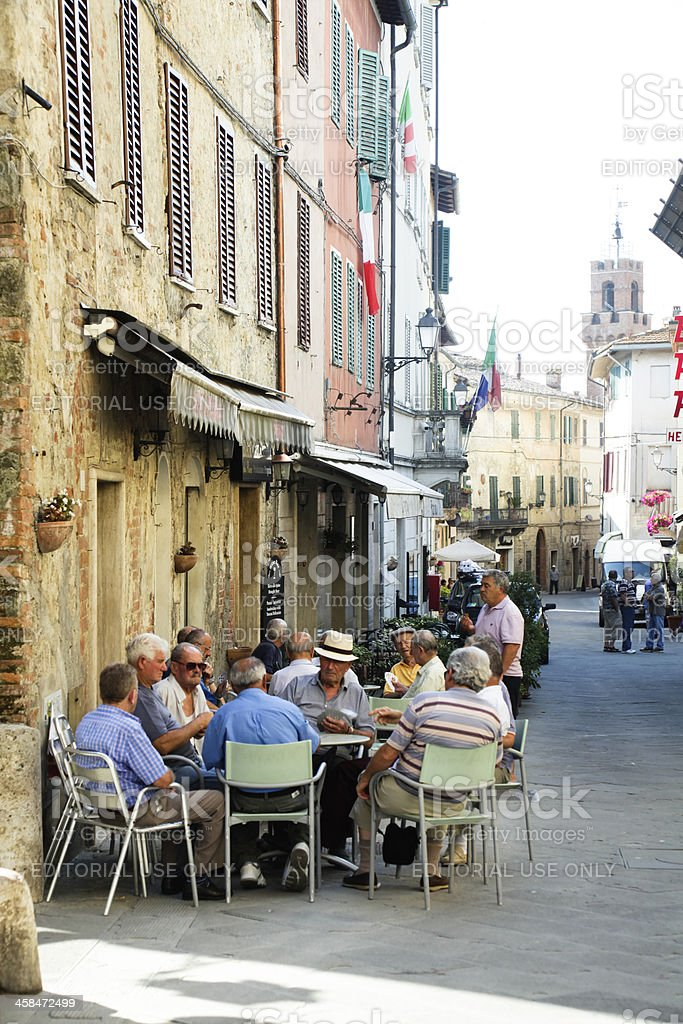Retirees playing cards stock photo