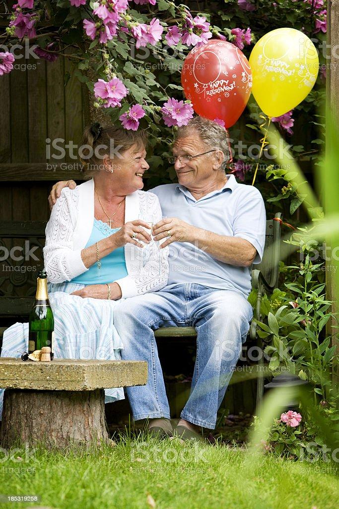 retirement: celebrating together royalty-free stock photo