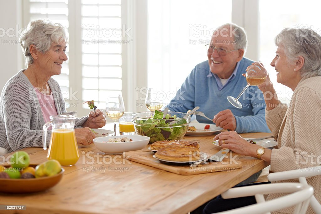 Retirement is enriched by great friendships royalty-free stock photo