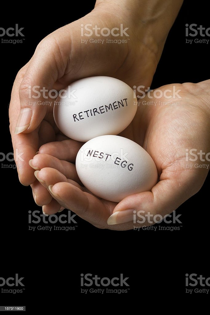 Retirement Nest Egg, Pension Savings and Investment Finances in Hands royalty-free stock photo
