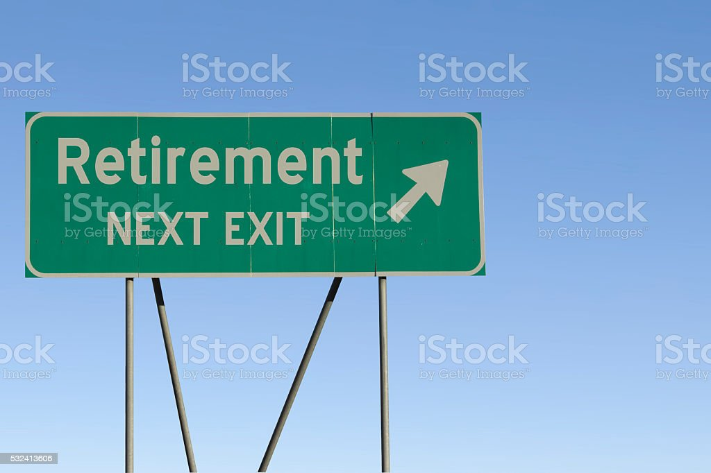 retirement - Next Exit Road stock photo