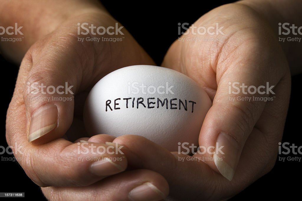 Retirement Pension Nest Egg in Hands, Financial Planning Wealth Management stock photo