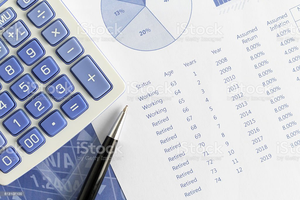 Retirement projections for return and annual inflation with pen, calculator stock photo