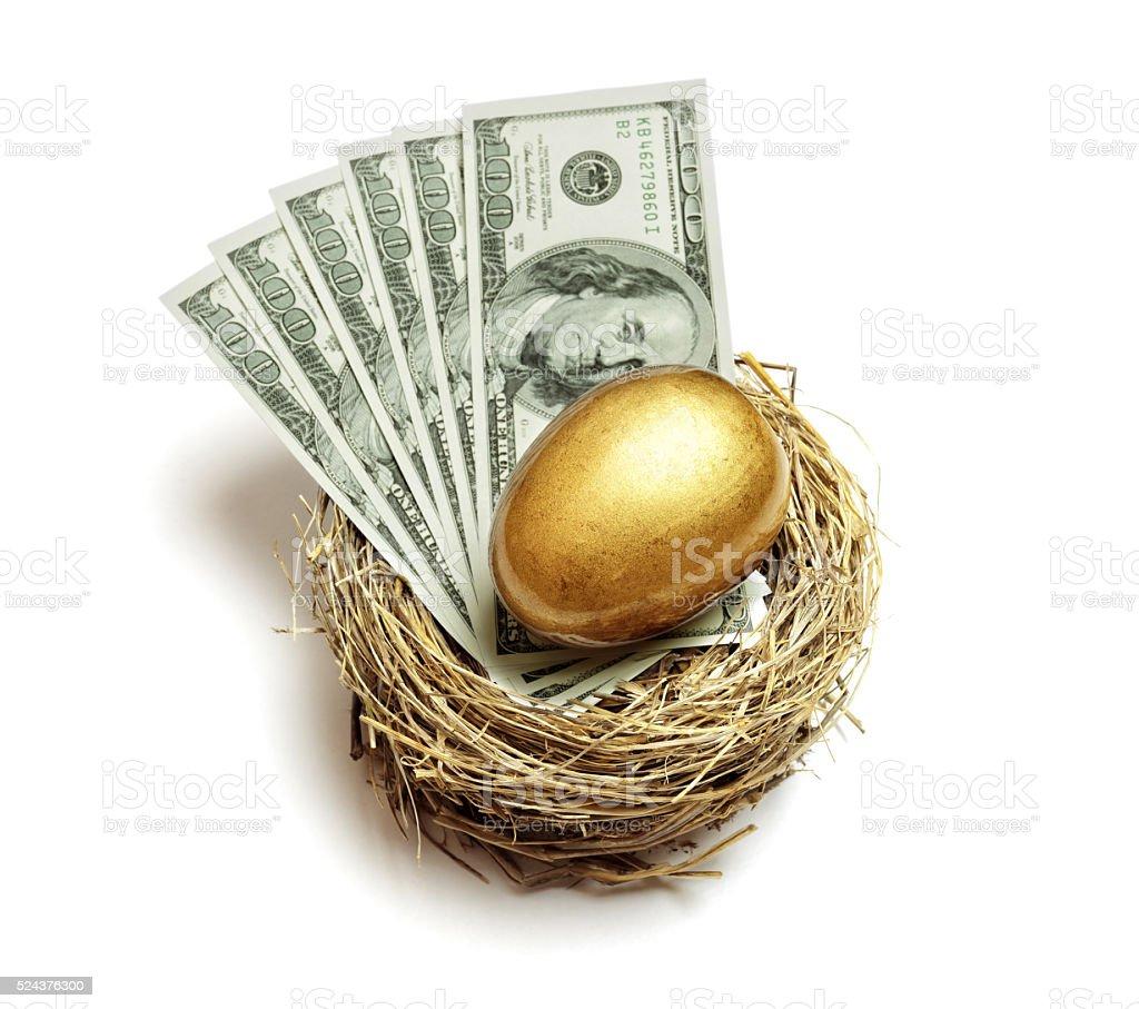 Retirement savings golden nest egg stock photo