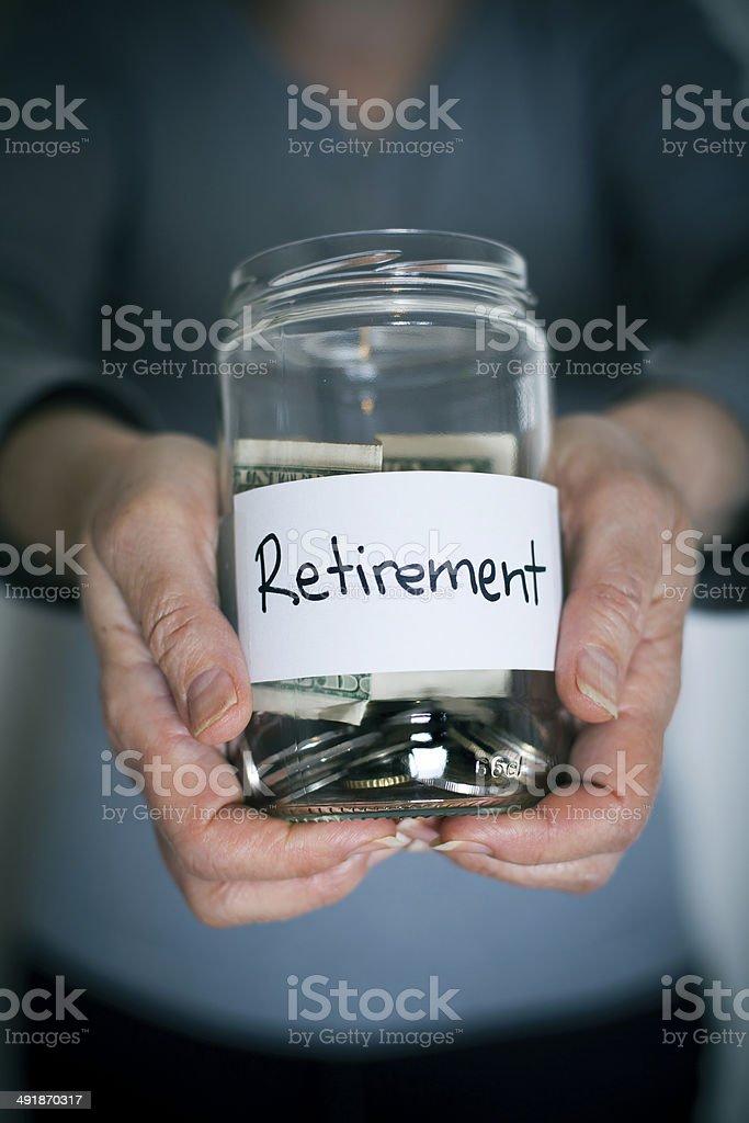 Retirement Savings in Jar stock photo