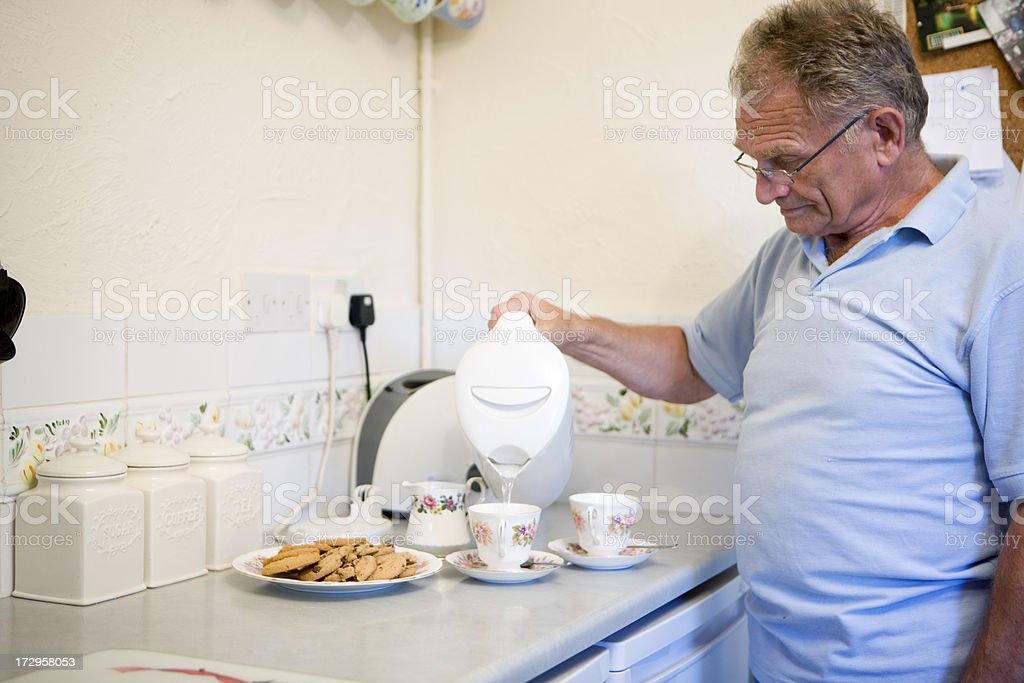 retirement: tea and biscuits stock photo