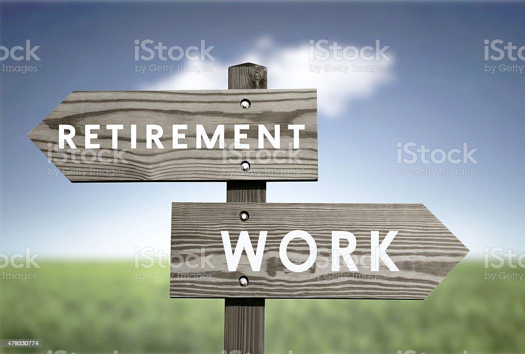 Retirement vs work stock photo