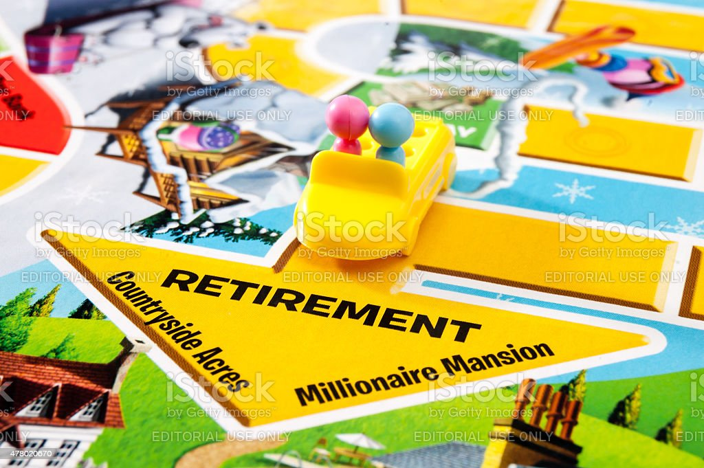 Retiring in The Game of Life stock photo