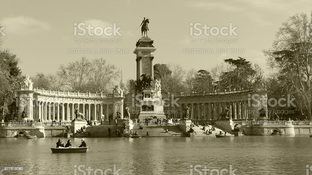 Retiro Park lake stock photo