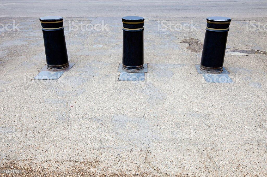Retractable Bollards in London stock photo
