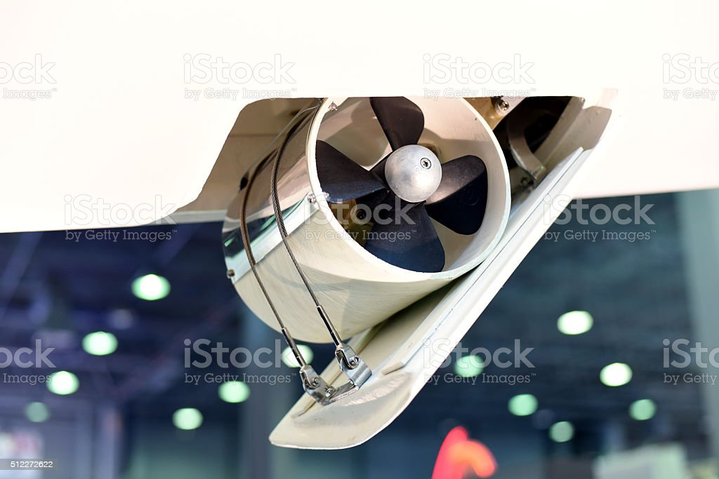 Retractable bow thruster of a sailing boat stock photo