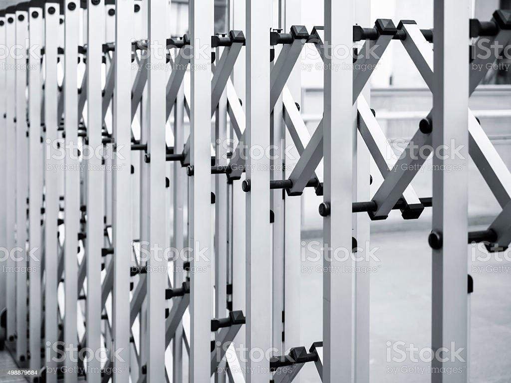 Retractable Fence Gate door stock photo