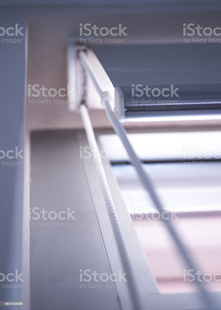 Retractable Home Window Blinds/Curtains royalty-free stock photo