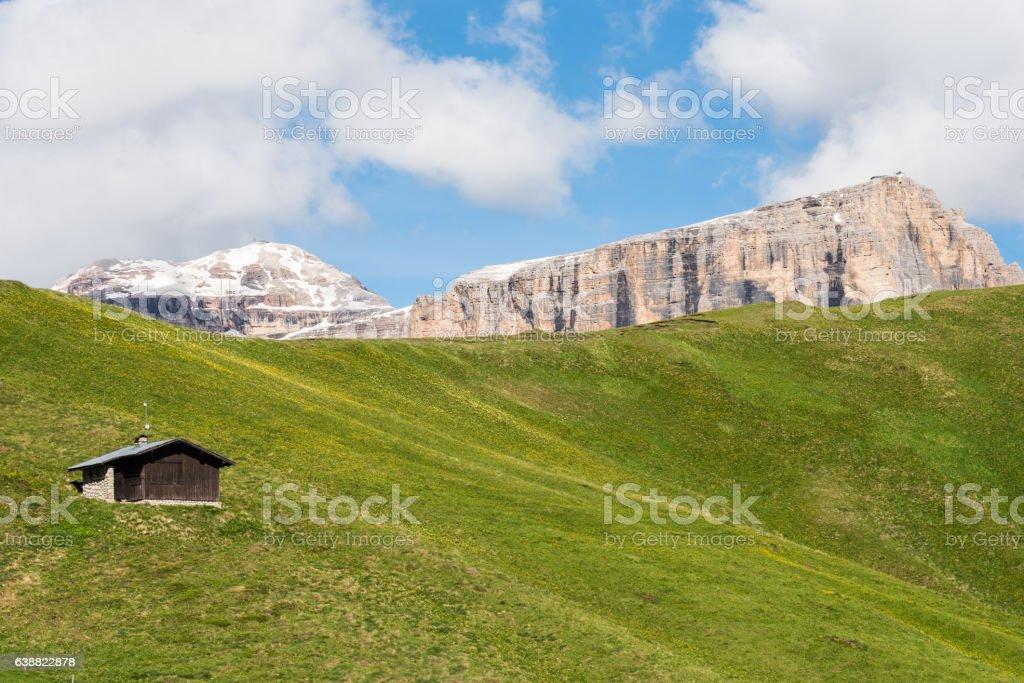 Retreat in Val di Fassa dolomites (Col Rodella) stock photo