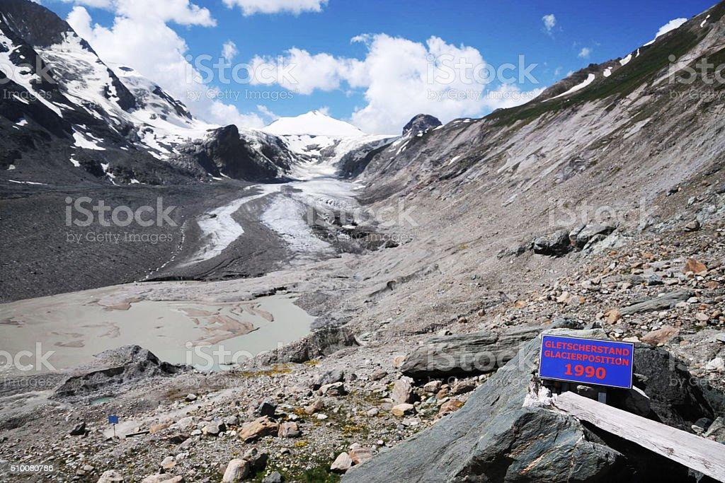 Retreat of Pasterze glacier in Austria stock photo