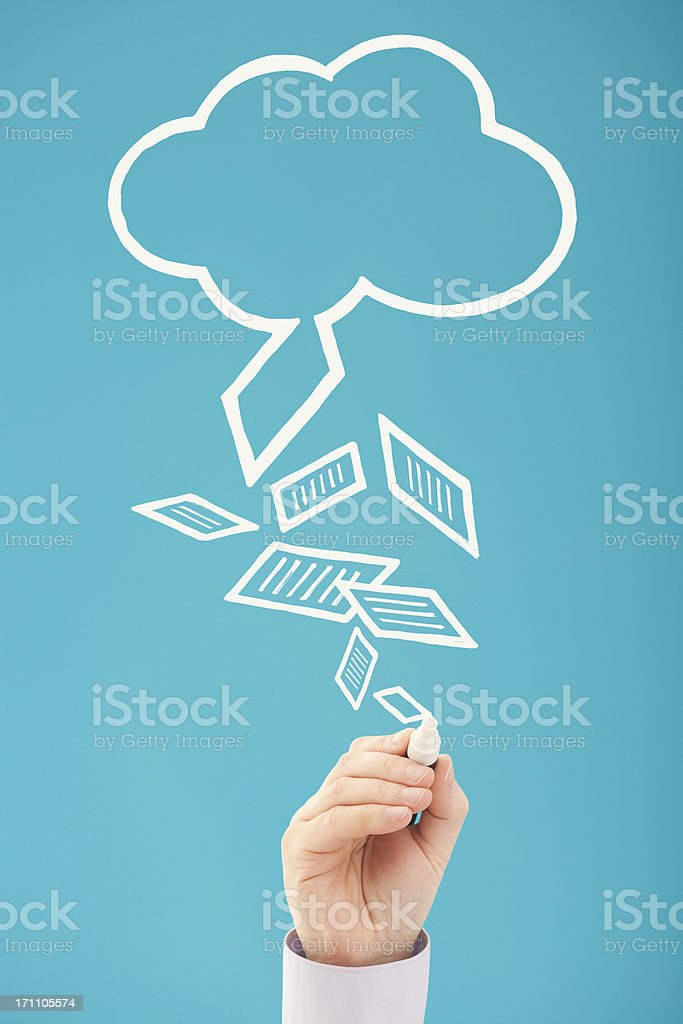 Retrieving data cloud computing royalty-free stock photo
