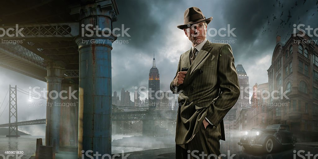 Retro 1940's Film Noir Detective or Gangster stock photo