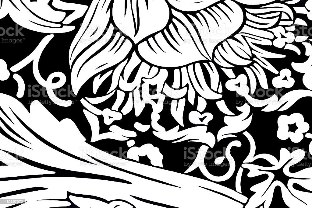 Retro 1970s style black and white floral pattern stock photo