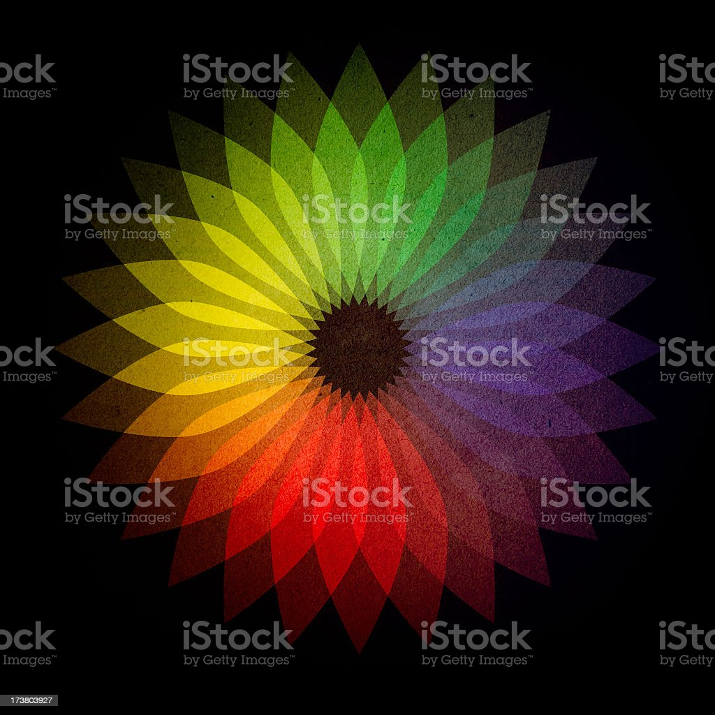 Retro 1970's Style Rainbow Flower stock photo