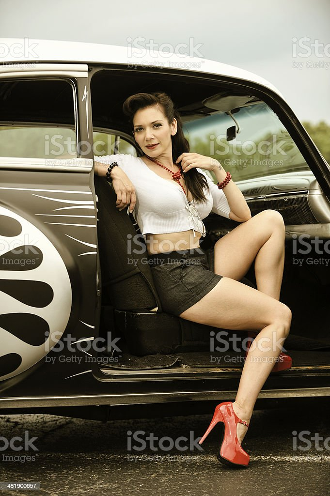 Retro 50's Pin Up Girl and Car with Post Processing royalty-free stock photo