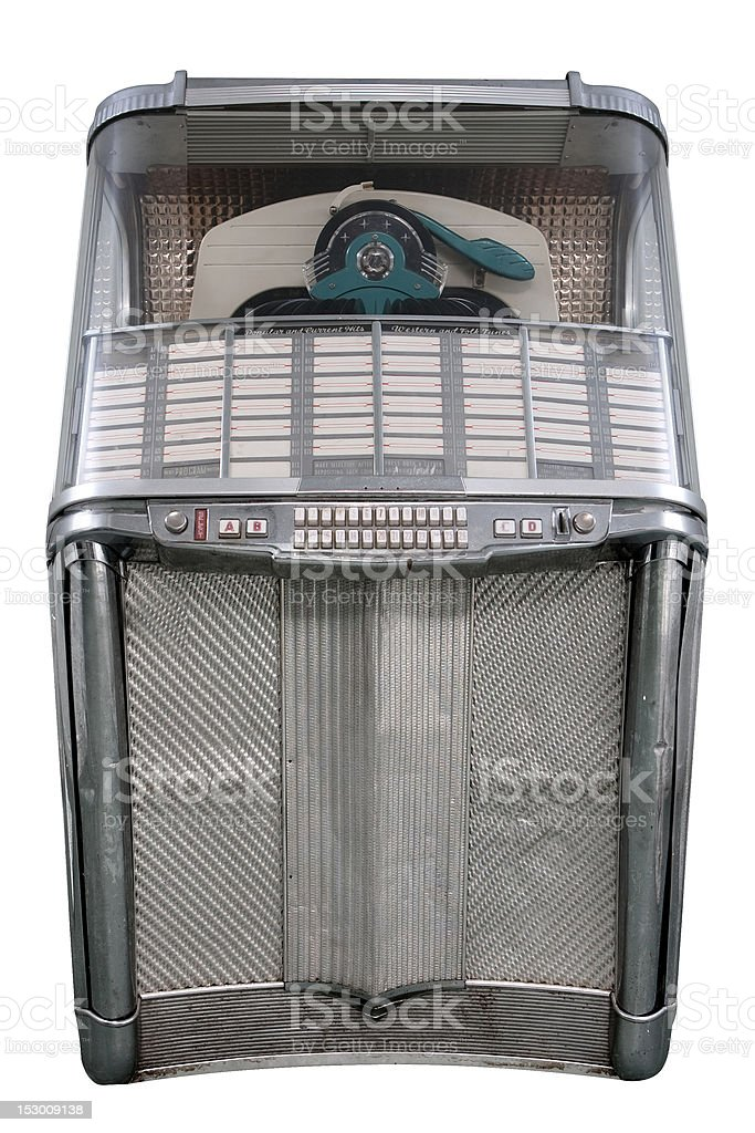 Retro 60's Jukebox Isolated on White, vertical composition stock photo