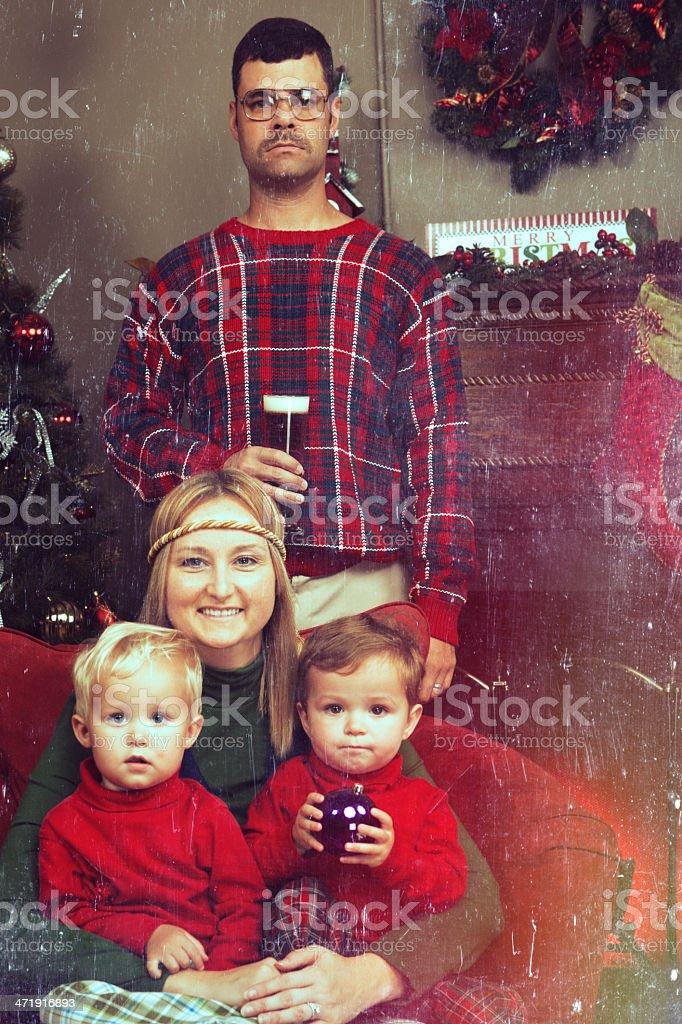 Retro 70's Looking Christmas Family Photo royalty-free stock photo