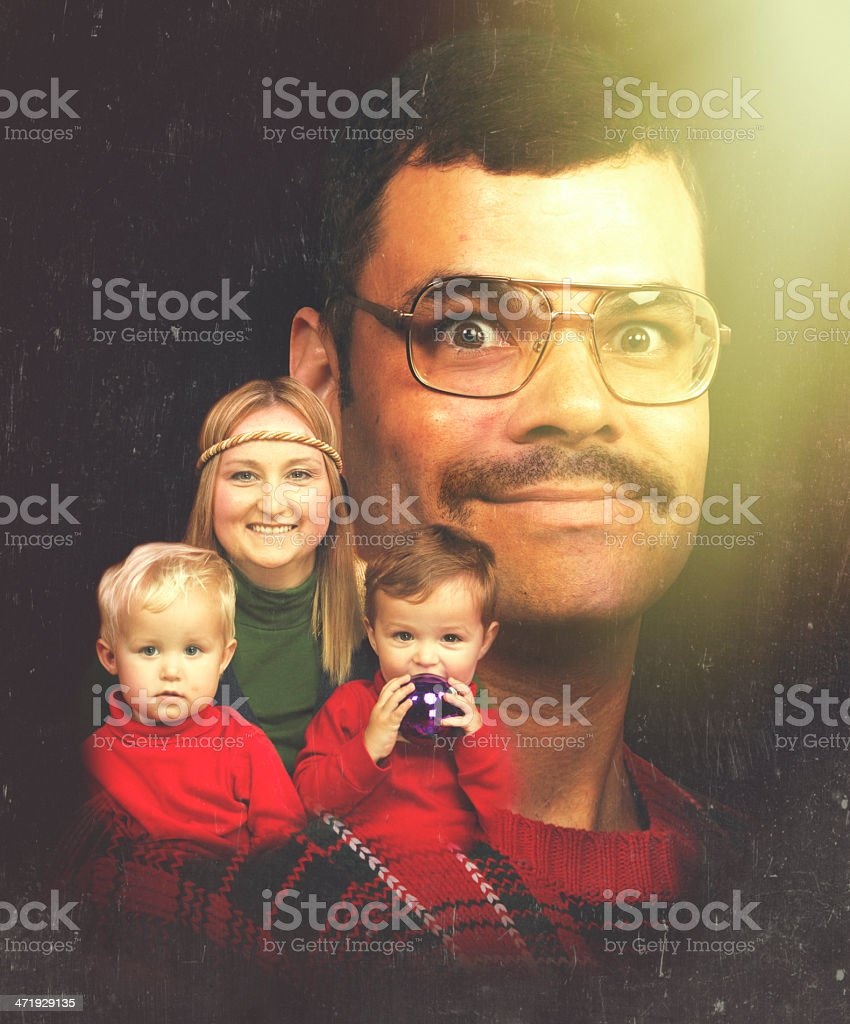 Retro 70's Looking Christmas Family Photo royalty-free stock photo