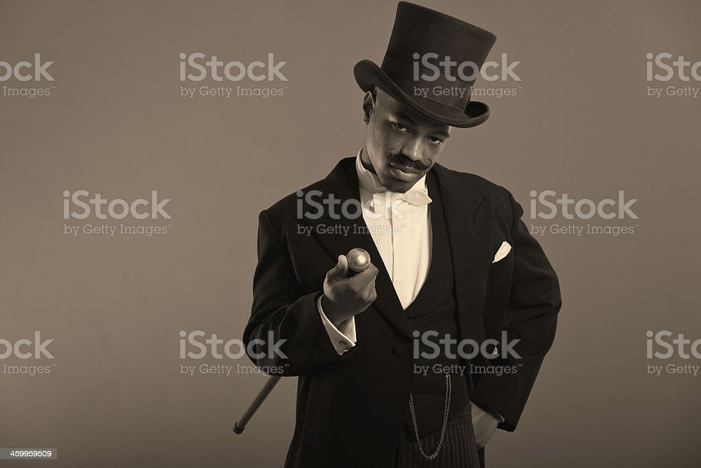 Retro afro american dickens scrooge man with mustache. stock photo