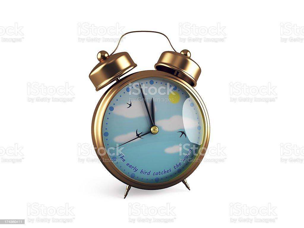 Retro Alarm clock, isolated on white royalty-free stock photo