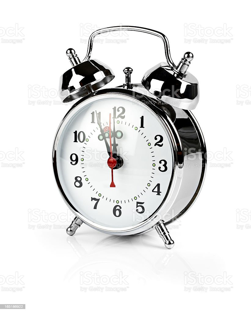 Retro alarm clock, just before deadline, isolated Clipping path royalty-free stock photo