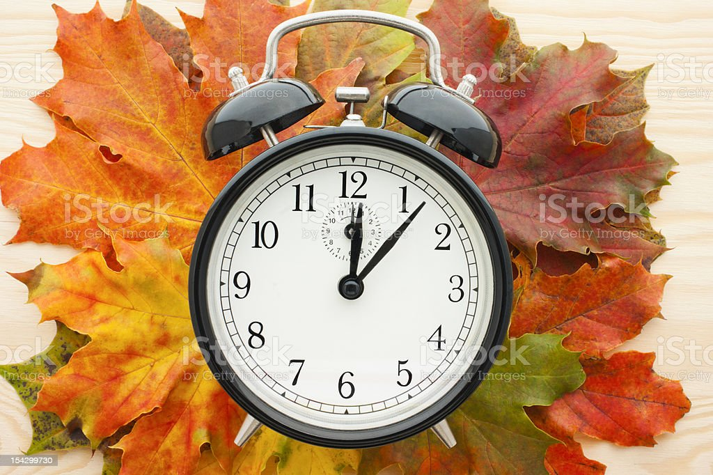 Retro alarm clock on autumn leaves. Time change. stock photo