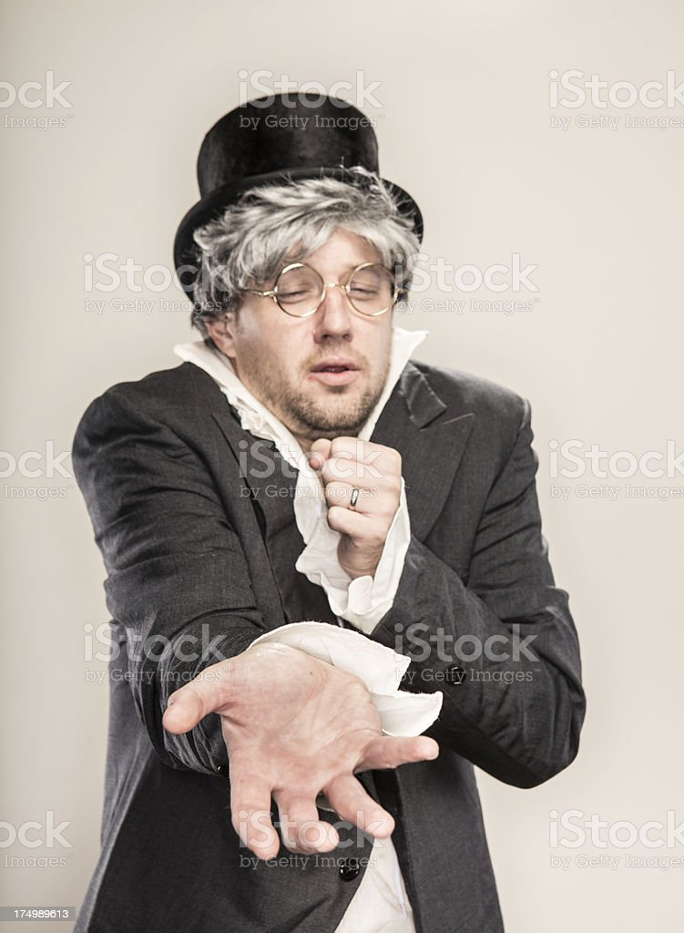 Retro Antique 1800's begging sad man with hand out royalty-free stock photo