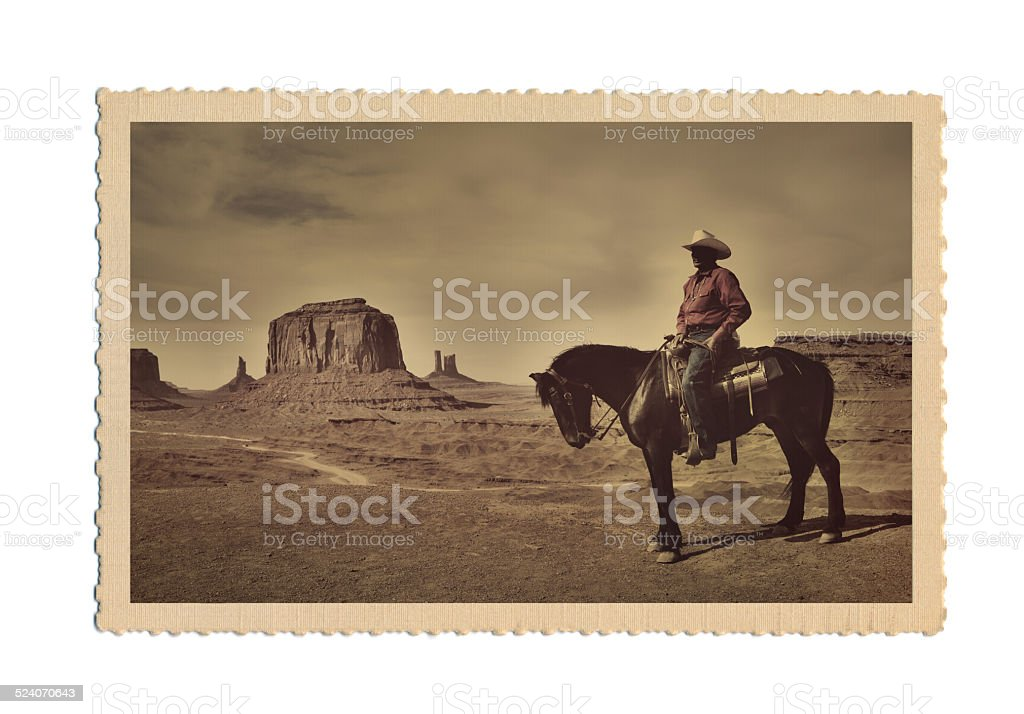 Retro Antique Postcard Photograph of American West Scene with Cowboy stock photo