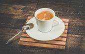 Retro arabica coffee on a table
