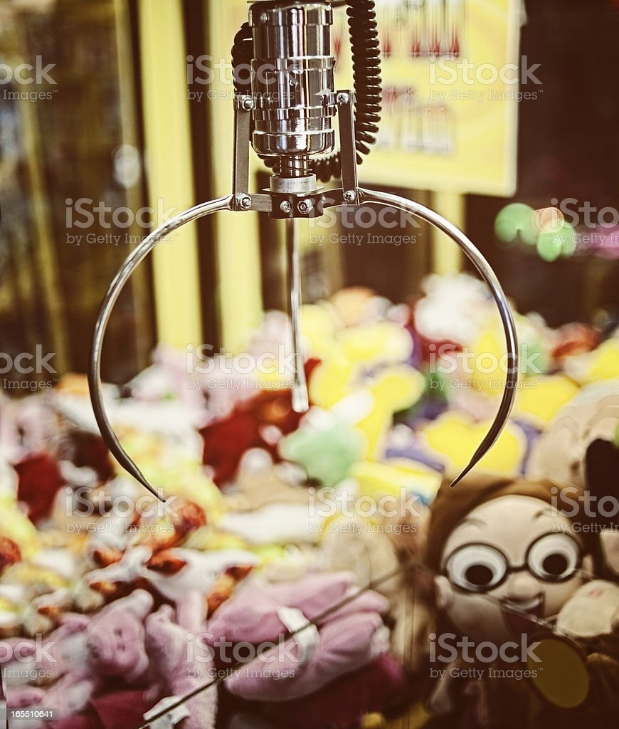 Retro Arcade Crane Claw Vending Machine stock photo