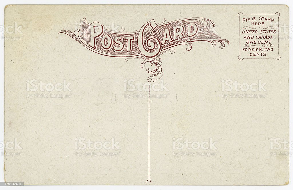 Retro Background Image of an Vintage Antique Postcard Back royalty-free stock photo