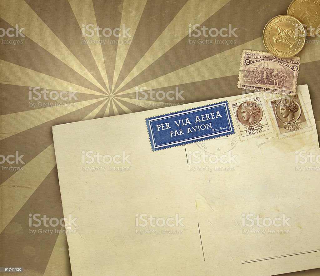Retro background with postcard royalty-free stock photo