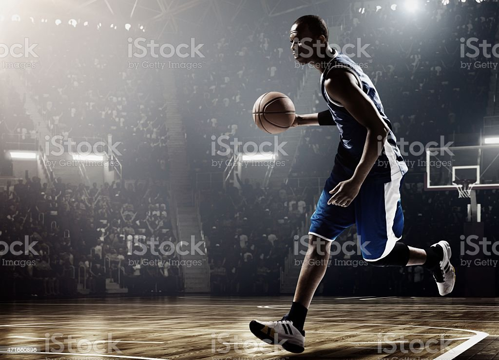 Retro basketball game moment stock photo