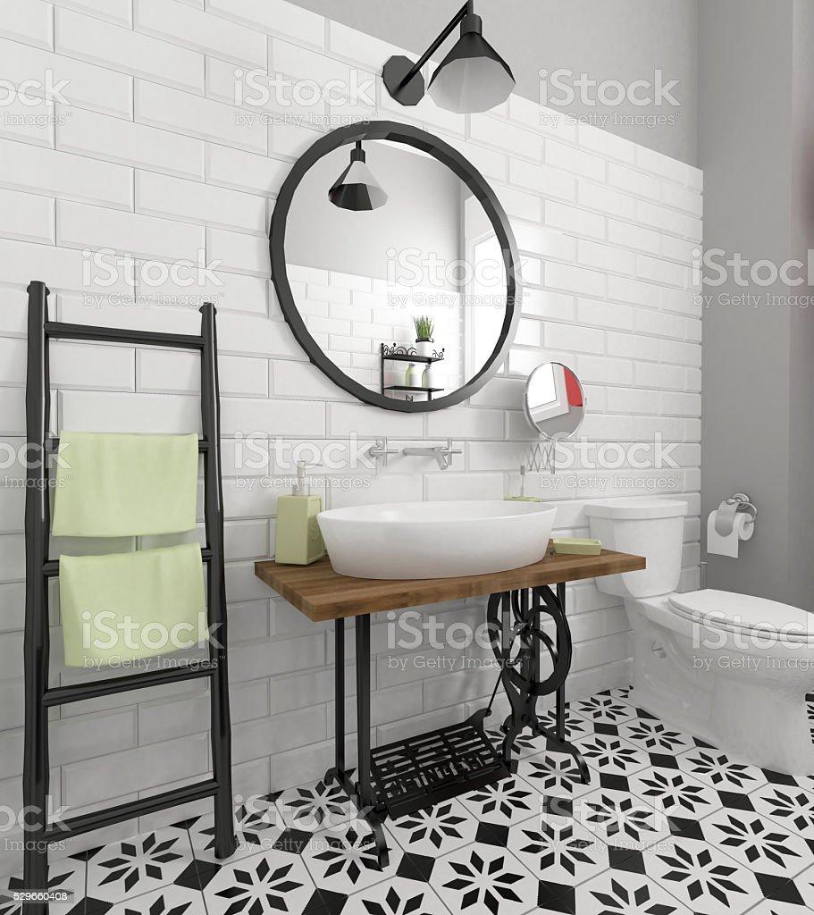 retro bathroom interior stock photo