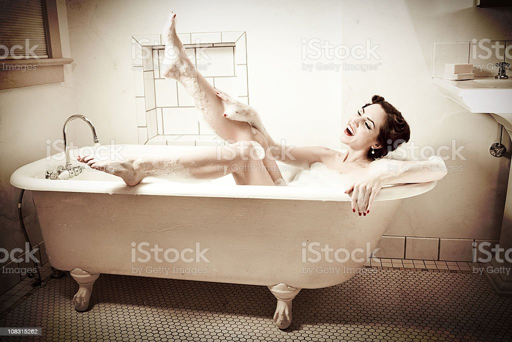 Retro Bathtub Pinup Kiss royalty-free stock photo