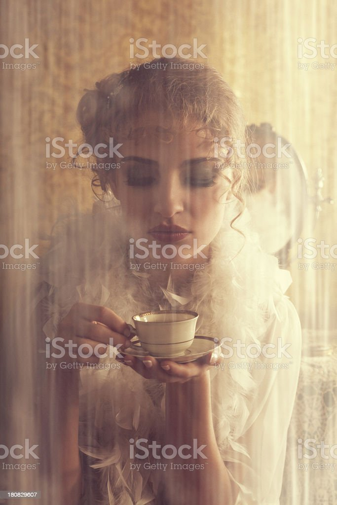 retro beauty drinking coffee in the morning stock photo