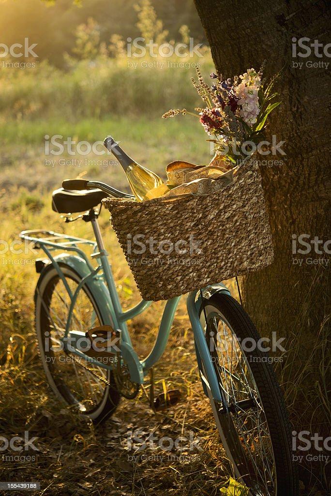 Retro Bicycle with Wine in Picnic Basket XXXL stock photo