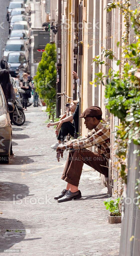 Retro black man in Via Panisperna stock photo