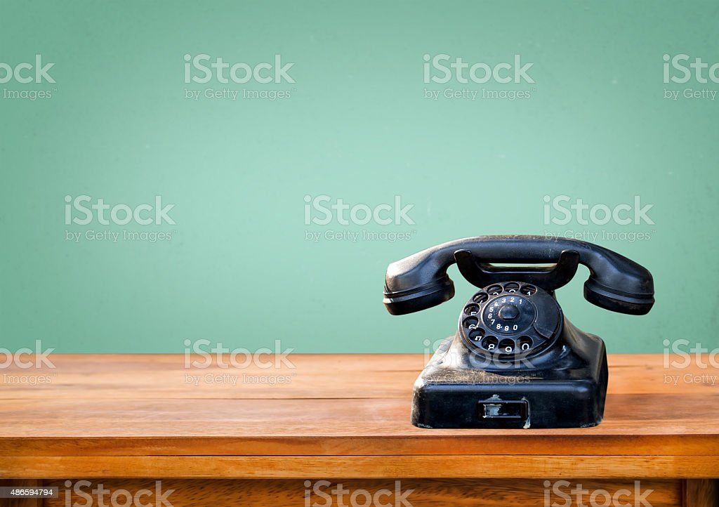 Retro black telephone stock photo